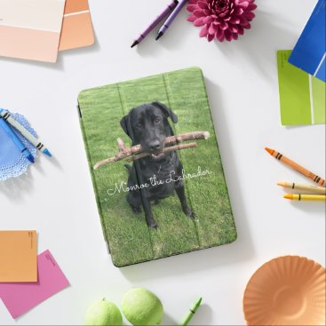 Black Lab with two sticks Photo and Name iPad Pro Cover