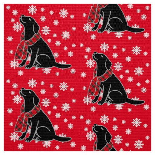 Black Labrador Tartan Scarf 2 Fabric