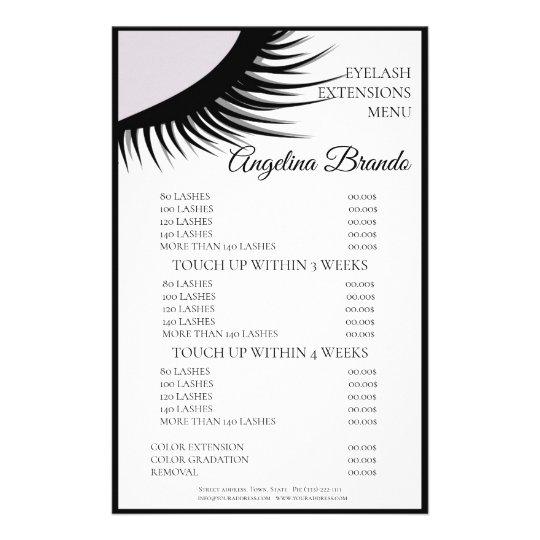 Black Lashes Eyelash Extensions White Price List Flyer