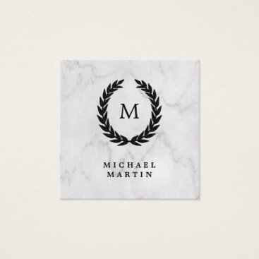 Black Laurel Wreath with Monogram on Marble Look Square Business Card