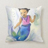 Black Mermaid Princess pillow for girls | Zazzle