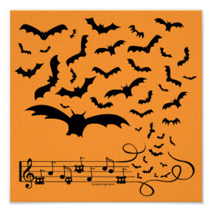 Black Music Bats Design Poster