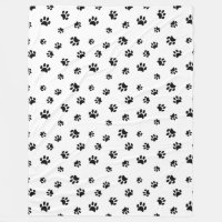 Black Paw Prints Pattern Fleece Blanket