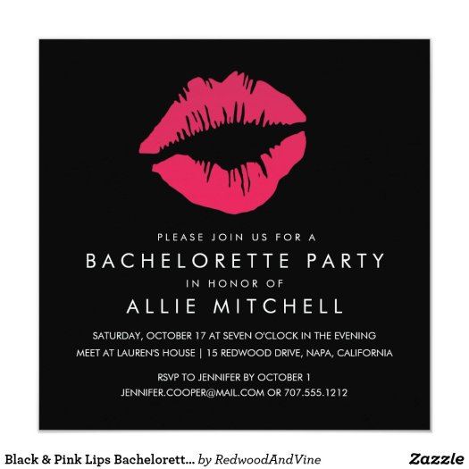 Black & Pink Lips Bachelorette Party Invitation