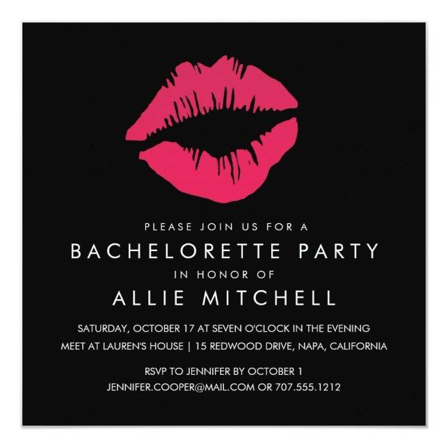 Black & Pink Lips Bachelorette Party Invitation