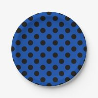 Black polka dots on royal blue paper plate | Zazzle