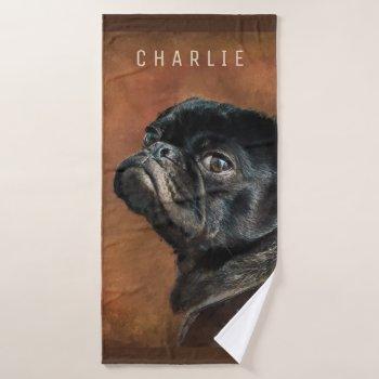 Black Pug Dog Bath Towel