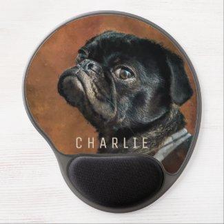 Black Pug Dog Gel Mouse Pad