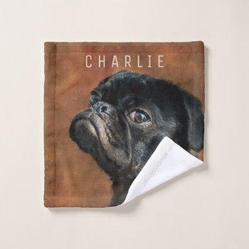 Black Pug Dog Wash Cloth