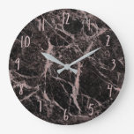 Black & Rose Gold Pink Glitter Marble Glam Trendy Large Clock