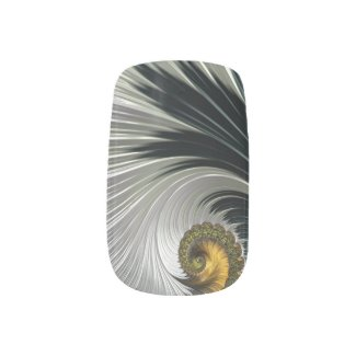 Black/Silver/Gold Swirls Minx Nail Wraps
