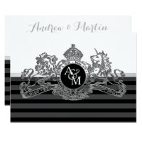 Black Silver White Lion Unicorn Emblem Wedding Card