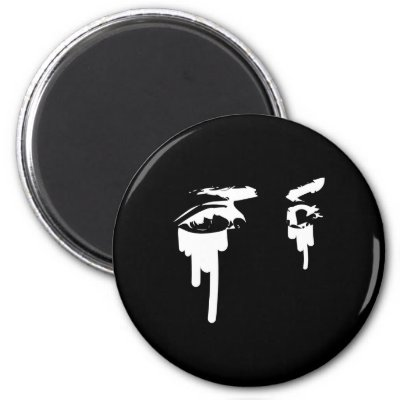 Black Tattoo Eyes Art Fridge Magnets by WhiteTiger_LLC
