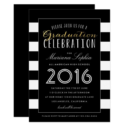 Black And Gold Graduation Party Invitations