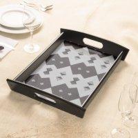 Black & White Argyle Decorative Serving Tray   Zazzle
