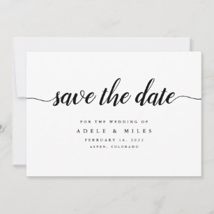 Black White Calligraphy Save The Date Card