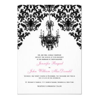 Black White Damask Chandelier Wedding Invitation