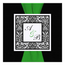 Black, White Damask Green PRINTED RIBBON Personalized Invites