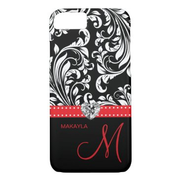 Black & White Damask with Diamond Heart & Monogram iPhone 7 Case