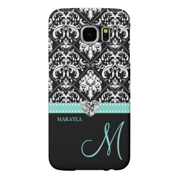 Black & White Damask with Diamond Heart & Monogram Samsung Galaxy S6 Case