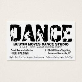 Black White Dance Studio Dancing Teacher Business Card