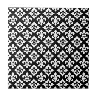 Black White Fleur De Lis Pattern Ceramic Tile | Zazzle.com