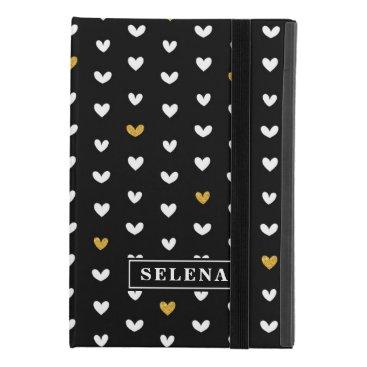 Black White Gold Heart Pattern with Custom Name iPad Mini 4 Case