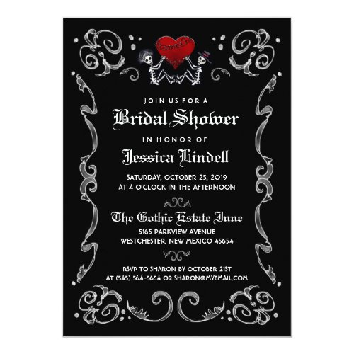 Black White Halloween Skeleton Bridal Shower Invitation