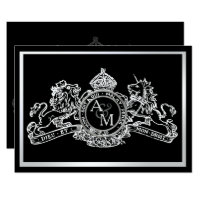 Black White Lion Unicorn Regal Emblem Wedding Card