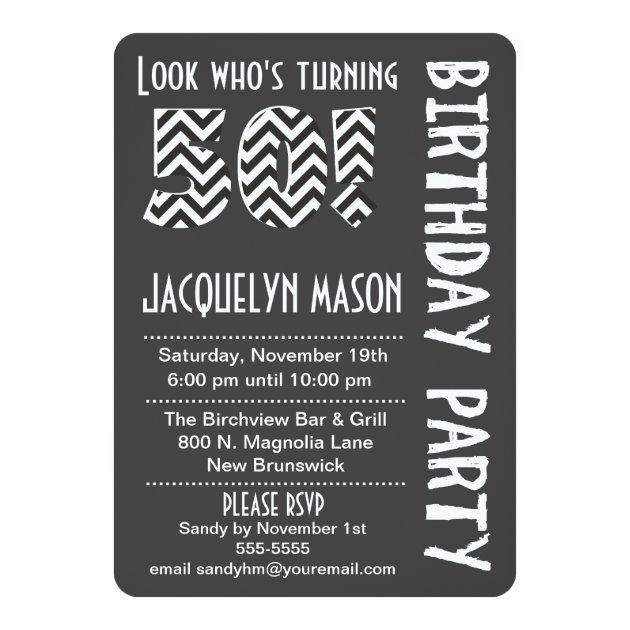 BlackWhite Look Whos Turning 50 Birthday Invite  Zazzlecom