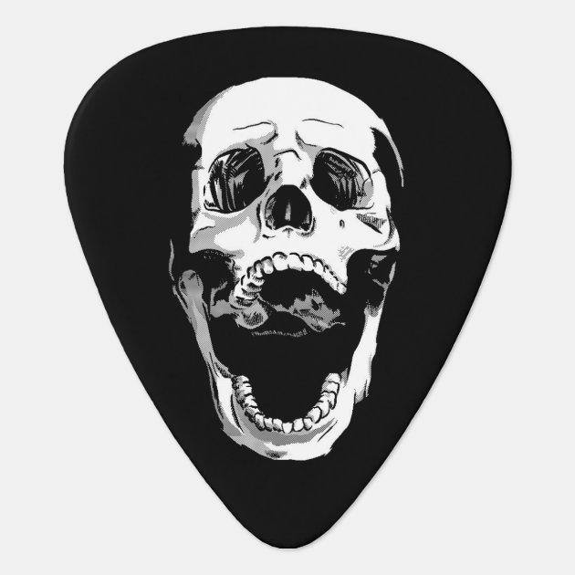 black white metal screaming skull