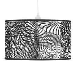 Black White Mix Modern Zen-tangle Style Patterned Hanging Lamps