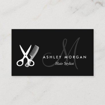 Black White Monogram Hair Hairstylist Appointment