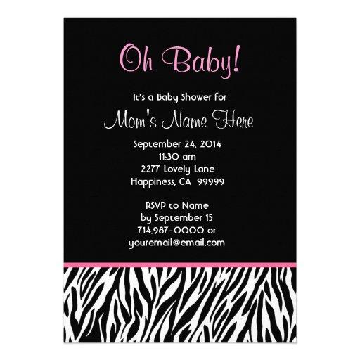 Personalized Zebra Baby Shower Invitations