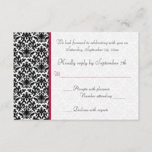 Black, White, Red Damask RSVP Card
