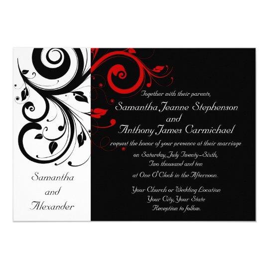 Black White Red Reverse Swirl Wedding Invitations