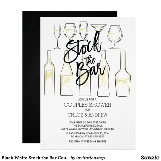 Black White Stock the Bar Couples Shower Invite