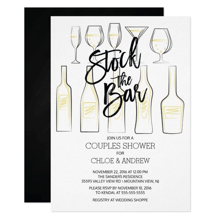 Black White Stock the Bar Couples Shower Invite