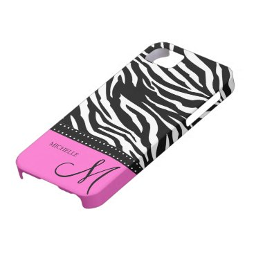 Black & White Zebra stripes with hot pink iPhone SE/5/5s Case