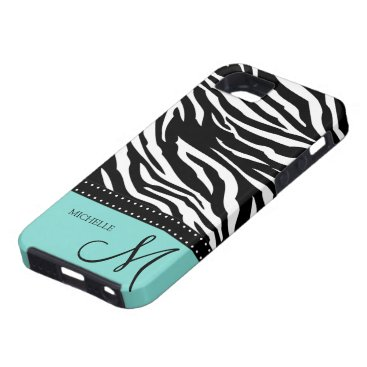 Black & White Zebra stripes with teal blue iPhone SE/5/5s Case