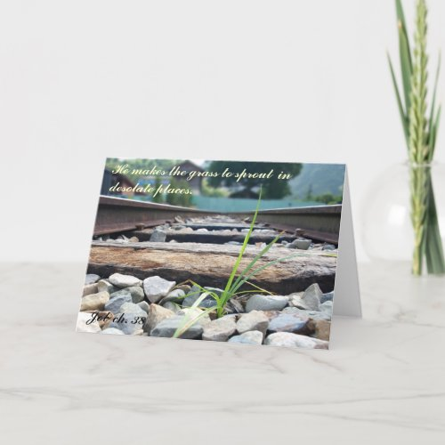 Blade of Grass on Railroad Tracks card