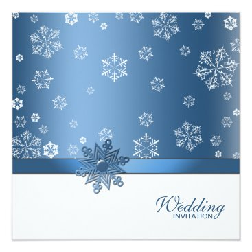 (Blank) Winter Blue & White Snowflake Invites