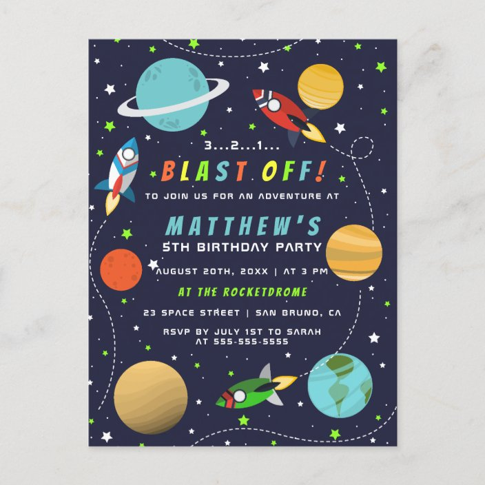 blast off outer space rocket ship birthday party invitation postcard zazzle com