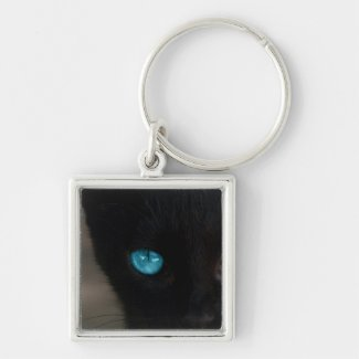 Black Cat Blue Eyes Keychain