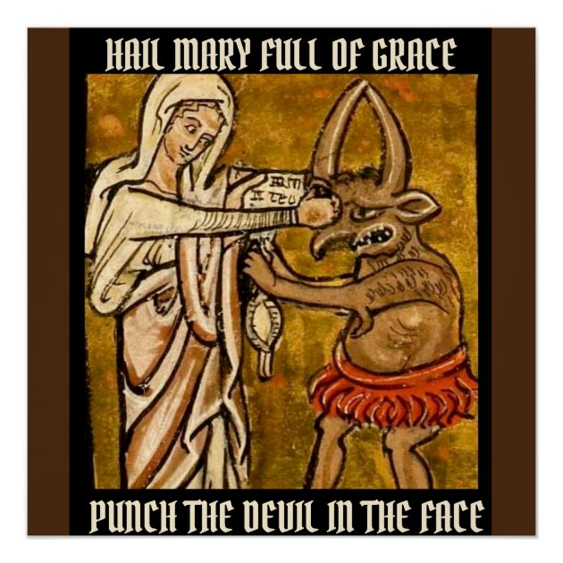 Blessed Virgin Mary Punching the Devil in the Face Poster | Zazzle ...