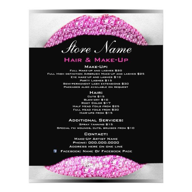 Bling MakeUp Artist Beauty Salon List Of Services Flyer