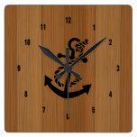 Blond Wood And Brown Nautical Anchor Square Wallclocks