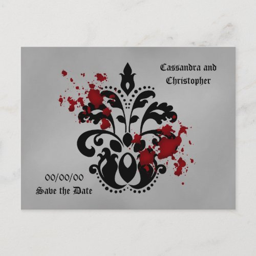 Bloody damask save the date announcement postcard