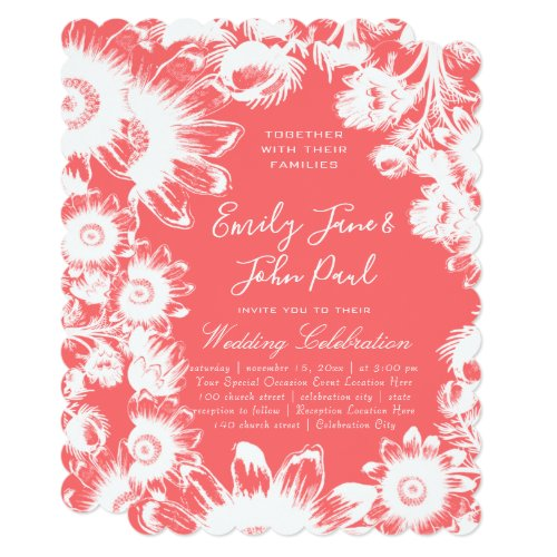 Blooming Blush Coral Floral Wedding Invitations