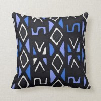 Blue African Mudcloth Tribal Print Pillow | Zazzle